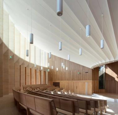 Junckers Oak Boulevard flooring at Sultan Nazrin Shah Centre, Worcester College, Oxford (lecture theatre) Photo: Nick Kane